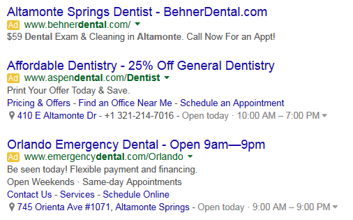 Screenshot of Adwords Ad Extension